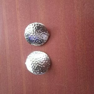 Clip on silver texured button earrings vintage